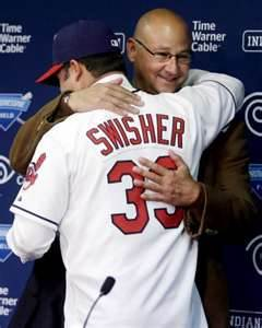 Clevlenad hopes Terry Francona and Nick Swisher repeat this scene after winning a World Series.  Image:  www.timesunion.com