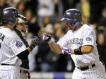 Michael Cuddyer celebrating after putting one in the seats.  Image:  yahoo.com